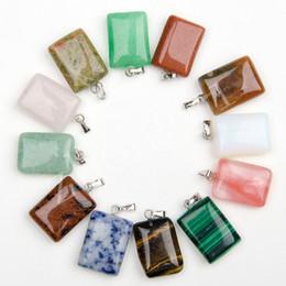 Wholesale Gem Stone Beads Wholesale Agate - Wholesale 50PCS Mixed Color Rectangle Natural Gem Stone Pendant Natural Crystal Agate Charms Pendant For Choker Necklaces