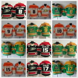 9698db461 Anaheim Ducks Hoodies 8 Teemu Selanne 9 Paul Kariya 10 Corey Perry 15 Ryan  Getzlaf 17 Eishockey Hoody Sweatshirts Rot Grün Orange