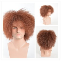Wholesale Brown Mens Wig - High Quality Straight Synthetic Mens Wigs Heat Resistant Fiber Black Brown Color Afro Short Wig Cosplay
