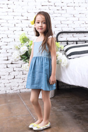 Wholesale Denim Lace Girls Suspenders - 2017 Kids Girl Dress Denim Angel Sleeve Summer Korean Style Lace Children Kids Clothing