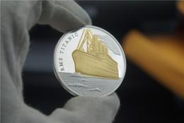 Wholesale Bi Plates - 50pec lot The Voyage of Titanic Ship Remember Bi metal Silver Gold Plated Jack Rose Love Story Souvenir Coin