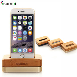 Wholesale Iphone Samdi - Original SAMDI Wooden Aluminum Charger Dock Cradle for IPhone 5s Se 6s Phone Holder Charging Station