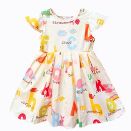 Wholesale Chinese Short Sleeves Dresses - Kseniya Kids Baby Girls Clothes Baby Girl Summer Princess Party Cute Cotton Dress Kids Dresses For Girls Flower Cartoon Pattern Girl Dresses