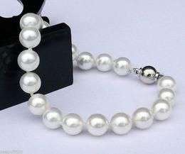 Wholesale South Sea Bracelets - charming 8mm white South Sea Shell Pearl Bracelet AAA 7.5