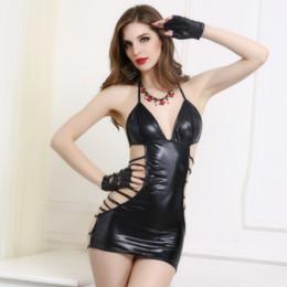 Wholesale Lady Night Erotic - Sexy Ladies Halter Mini Dress Straps Back Bandage Club Stripper Wear Babydoll Nightdress Erotic Cut Out Underwear