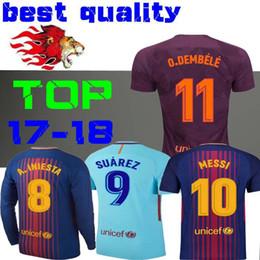 Wholesale Short Sleeve Jerseys - 2018 SUAREZ Jerseys 2017 Camisas Dembele Messi INIESTA PIQUE Soccer Jersey 17 18 Camiseta de futbol Rakitic Long sleeves third 3RD SIZE S-XL