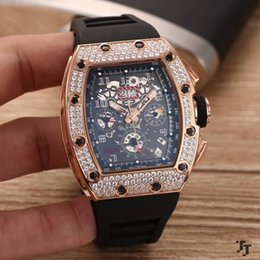 Wholesale Automatic Rubber Strap - 2017 top brand luxury rose gold diamond calendar men's watches new RM011 mineral tempered glass natural rubber strap automatic machinery 43m