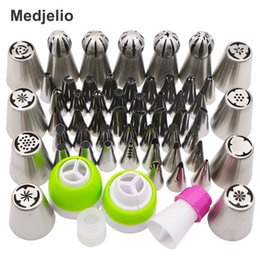 Wholesale Nozzle Tip Pastry Cake Decoration - Medjelio 55Pcs Russian Pastry Nozzles Icing Piping Kroean Globular Pastry Tips Cake Decoration Dessert Baking Tools 4 coupler