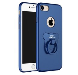 Wholesale Bear Stands - Original Luxury Frosted Hard Plastic with Bear Finger Ring Stand kickstand Holder Ultra Thin Phone Case for iPhone 7 7 Plus 6 6S