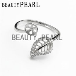 Wholesale sterling silver blank rings - Bulk of 3 Pieces 925 Sterling Silver Zircon Hollow Cut Leaf Ring Blank Pearl Ring Mount