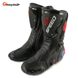 Wholesale Motocross Boots White - Fashion Motorcycle Boots RIDING TRIBE Moto Racing Boots Protective Gear Motocross Leather Long Shoes B1001 free shipping