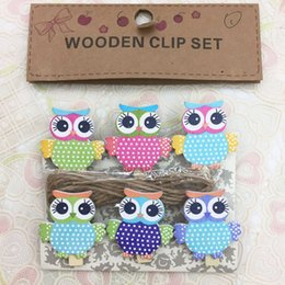 Wholesale Korean Wooden Clip - Korean creative wood clip 6Pcs   bag   owl cartoon photo holder Korean creative multi-functional small wooden clip