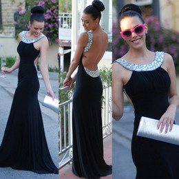 Wholesale Sparkle Round Bead - Sleeveless Prom Dress with Beaded Round Neck Backless Black Evening Dress with Sparkling Crystal Bead Plus Size Formal Dresses