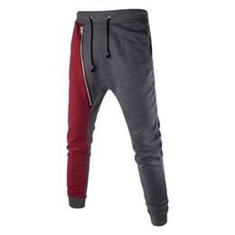 Wholesale Wholesale Hip Hop Sweat Pants - Wholesale-Mens Casual Baggy HIP HOP Dance Jogger Sweat Pants Spliced Zipper Harem Trousers
