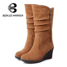 Wholesale Wedge Green Shoes Women - Wholesale- BONJOMARISA Big size 34-43 quality hot fall winter shoes women mid calf wedge shoe woman slip on PU leather pleated riding boots