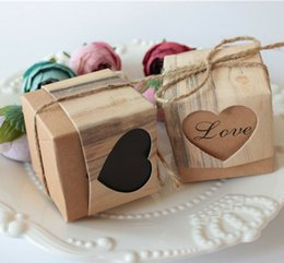 Wholesale Twine For Food - 100pcs Heart Hollow candy box Candy Box Vintage Wedding Gifts For Guests Kraft Boxes With Rustic Burlap Twine Wedding Favors Decoration