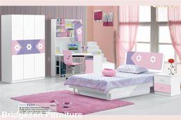 Wholesale Princess Wardrobe - MDF Teenage Princess Girl Kids Bedroom Furniture Set with 3-Door Wardrobe Nightstand Bookcase Flower Design