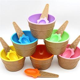 Argentina 1 UNID niños cuencos de helado taza de helado Parejas tazón regalos Titular de contenedor de postre con cuchara Mejor suministro de regalo de los niños a la venta Suministro