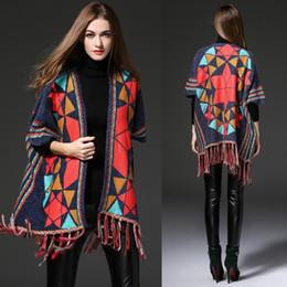Wholesale Long Crochet Shawl Cape - Wholesale- New 2017 Autumn Fashion Shawl Sweaters Cape Women Plaid Top Quality Front Tassel Trim Warm Wrap Cardigan sweater