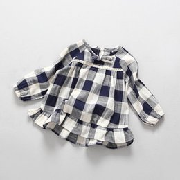 Wholesale Long Linen Dresses - 2017 Spring New Girl Dress Blue White Plaid Long Sleeve Linen Cotton Dress Children Clothing 2-7Y Q1626