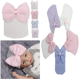 Wholesale Boys Hair Cap - Spring Autumn Newborn Baby Big Hair Bow Knitted Hats Soft Cotton Unisex Toddlers Hat For Babies Cute Stripe Infants Caps For 3-6 M 5 colors
