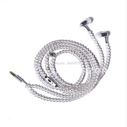 Wholesale Transparent Earphones - Trendy Transparent beads in-ear necklace pearl earphone with mic suitable for iphone and android devices headphone