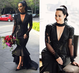 Wholesale Hi Low Halter - Black Deep V Neck Prom Dresses 2017 Plus Size Halter Lace Appliques Evening Gowns Satin High Low Arabic Mermaid Party Dresses Custom Made