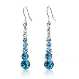 Wholesale Neoglory Swarovski - Neoglory Platinum Plated Swarovski Elements Blue Round Stellux Austrian Crystal Wedding Drop Wedding Earrings For Women