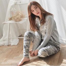 Wholesale Womens Plus Size Pajamas Sets - Wholesale- 2016 Autumn Winter Womens Pajama Sets O-Neck Long Sleeve Women Sleepwear Pajamas Girls Woman Pyjama Femme Plus Size M L XL XXL