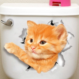 Wholesale Cat Toilets - 3D Cats Wall Sticker Toilet Stickers Hole View Vivid Dogs Bathroom Room Decoration Animal Vinyl Decals Art Sticker Wall Poster