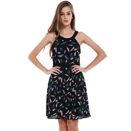 Wholesale Strapless Ball Gown Patterns - 2017 New Summer Chiffon Dress Printted Patterns Strapless Neck Sleeveless Patchwork Shrink Waist Girls Cute Smart SlimCasual Elegant Dresses