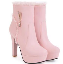 Botas de tacones mujer desnuda online-Versión coreana del áspero con plataforma impermeable, botas blancas y botas desnudas de mujer, botas de tacón alto de moda 2017, otoño y invierno