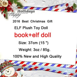 Wholesale Elf Dolls - 2016 New Plush ELF Dolls+Book Red Girl & Boy Figure Christmas elves of Best Christmas Novelty Toys Xmas Gift For Kids Holiday Gift