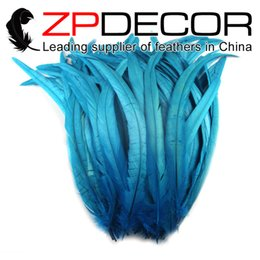 Wholesale Rooster Craft - ZPDECOR Premium Quality 30-35cm(12-14 inch) 2016 New Arrival Dyed Blue Chicken Feather Rooster Tail Feathers Craft for Sale