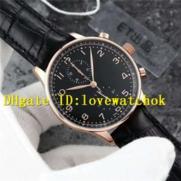 Wholesale Automatic Portuguese Watches - Top quality Luxury Brand ETA7750 Rose Gold Portuguese Automatic Chronograph Mens Watches Black Dial Sapphire Black Leather Strap