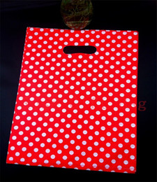 Wholesale Gift Bags Handles Wholesale - Wholesale-Wholesale 50pcs lot 25X35cm Large Plastic Shopping Bags For Boutique Packaging White Round Dots Red Plastic Gift Bag With Handle