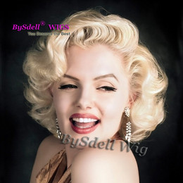 Wholesale Short Blonde Anime Cosplay Wigs - Celebrity Marilyn Monroe Short Body Wave Blonde Hair Front Lace Wig Synthetic Short Blonde Color Anime Cosplay Lace Front Wigs