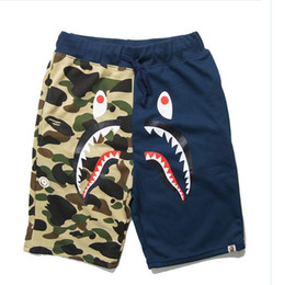 Wholesale Sportwear Pants - 2017 New Tide Brand Camouflage Men's Shorts Letter Print Causal pants Loose Hip-hop TROUSES Cotton 100% Male Sportwear Breathable Shorts GOO