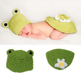 Wholesale Newborn Knit Frog Hat - Frog Style Newborn Photography Baby Hat Crochet Clothing Set Knitted Infant Boys Photo Fotografia Props Cartoon Costume