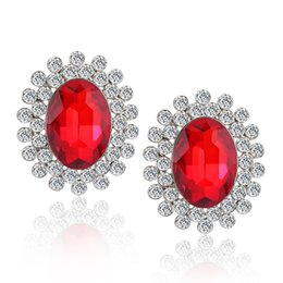 Wholesale Artificial Diamond Flowers - Exquisite Oval Shape Clear Cubic Zircon Red Ruby Stud Earrings for Women Artificial Diamond Earrings Wedding Party Jewelry