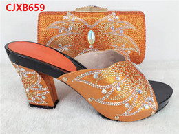 Wholesale Handbags Matching Shoes - African Fashion Shoes and Matching Bags set for women dresses in Orange,with stones Italy chunky high heels and handBags