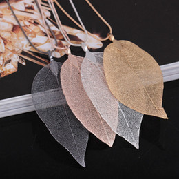 Wholesale Wholesale Real Leaf Pendants - Fashion Black Gold Gray True Natural Real Leaves Leaf Pendant Necklace Long Sweater Snake Chain For Women Jewelry Gift