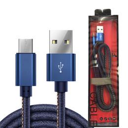 2017 YENI Kovboy Mikro USB Kablosu 1 M Hızlı Şarj Denim Örgülü Kablo Cep Telefonu Için USB Kablosu tipi-c nereden yeni lg telefon tedarikçiler