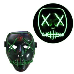 Wholesale Light Up Skull - EL Wire Mask Light Up Neon Skull LED Mask For Halloween Party And Concert Scary Party Theme Cosplay Payday Series Masks