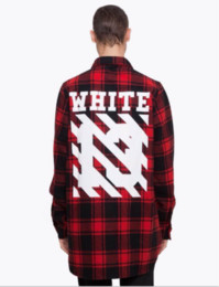 Wholesale Twill White Shirt - Fashion mens pyrex off white red black flannel plaid shirt virgil abloh Twill Printe extended long sleeved shirt high quality hiphop Shirt