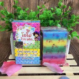 Wholesale Face Thailand - Thailand Pure Handmade Soap Whitening Skin Anti-aging Oil-control Body Beauty Lightening Rainbow Cleaning Soap Anti Dark Spot Rainbow Soap