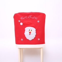 Wholesale Party Chair Tables - 2Pcs  Lot 2017New Year Christmas Decorations Santa Claus Hat Dinner Table Chair Back Covers For Party Home Decorations Crafts Room