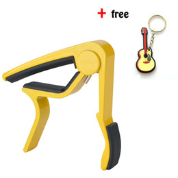 Wholesale Acoustic Capo - Yellow Single-handed Guitar Capo Quick Change for Acoustic Guitar With Free Guitar Keychain -Aluminum
