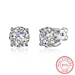 Wholesale European Earrings Diamonds - 100% Real 925 Sterling Silver Earrings 8M Stone Stud Earrings CZ Zircon European Hot Imitation Diamonds Jewelry Fine Jewelry Wedding Gifts