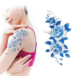 Wholesale Eye Tattoo Crystal - Wholesale- Crystal Blue Peony Simulation Tattoo Paper Fake Rose Flower Arm Tatto Real Like Temporary Tattoos YM-P03